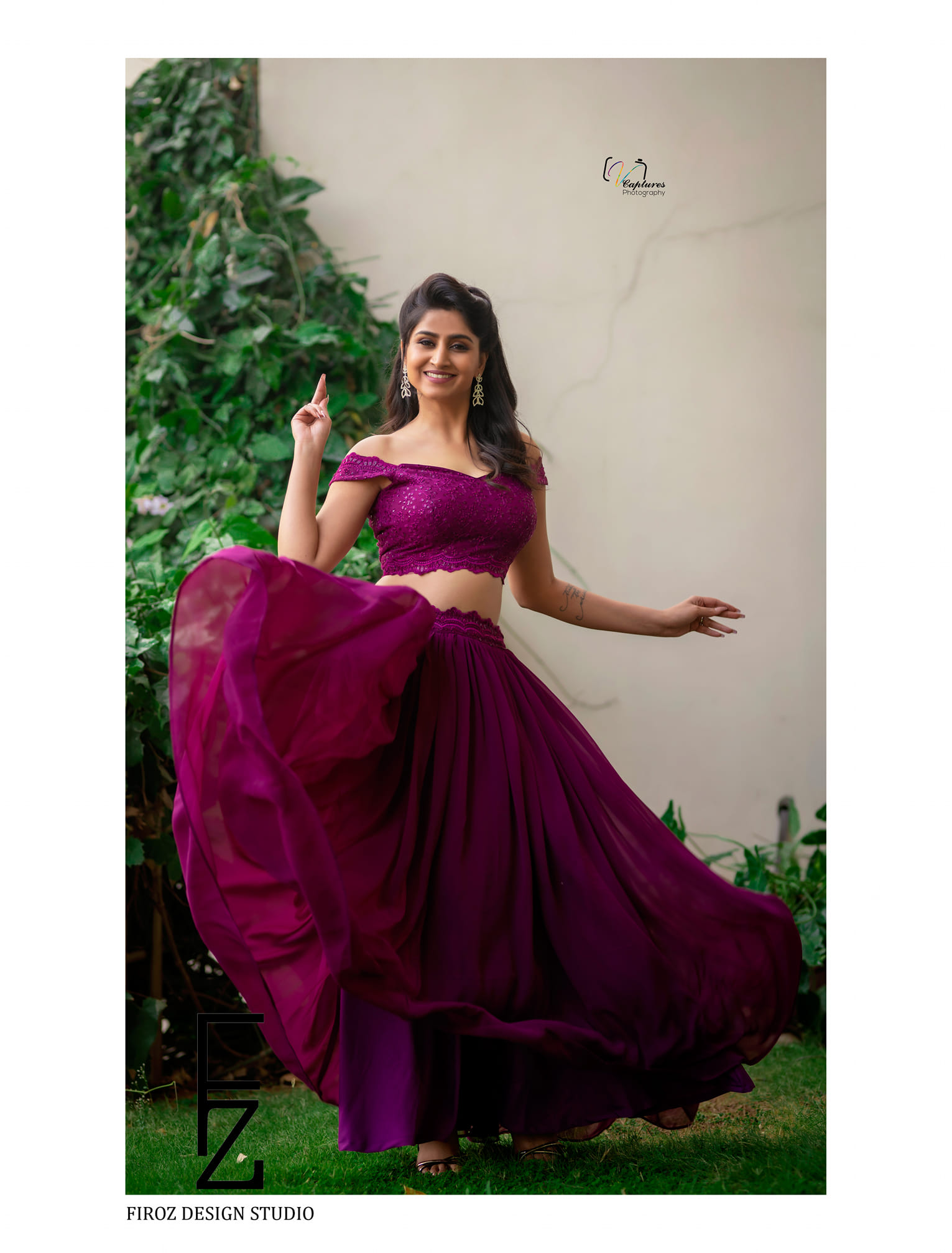 Glamorous Goddess Varshini looked beautiful in  Firoz Design Studio outfit. Varshini in purple color skirt and off shoulder top. 2021-02-22