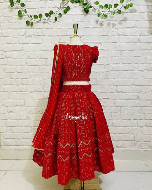 Red chickenkari lehenga choli for your cutie pie. 2021-02-22