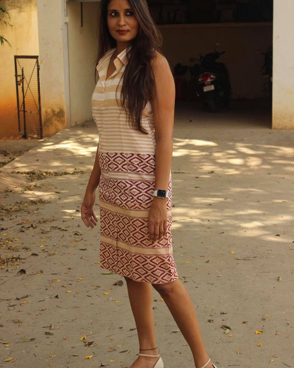 Beige Collared Halterneck Handloom Cotton Shift Dress.
