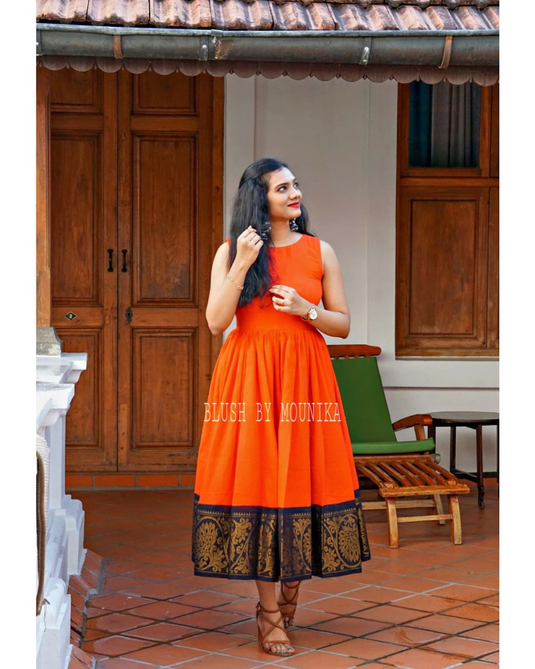 Loom Love. Stunning orange color hand loom pattu long frock. 2021-02-22
