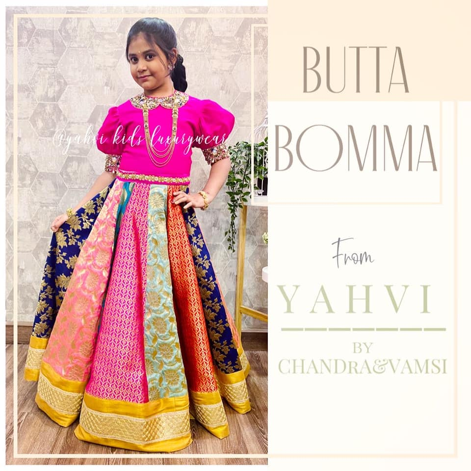 """"""" BUTTA BOMMA """" series at yahvi designs . Look chick in Yahvi Multi colour panel skirt paired up with heavy puff sleeves and Peter collar embroidery long croptop . For orders : whatsapp7893037777 2021-02-23"""