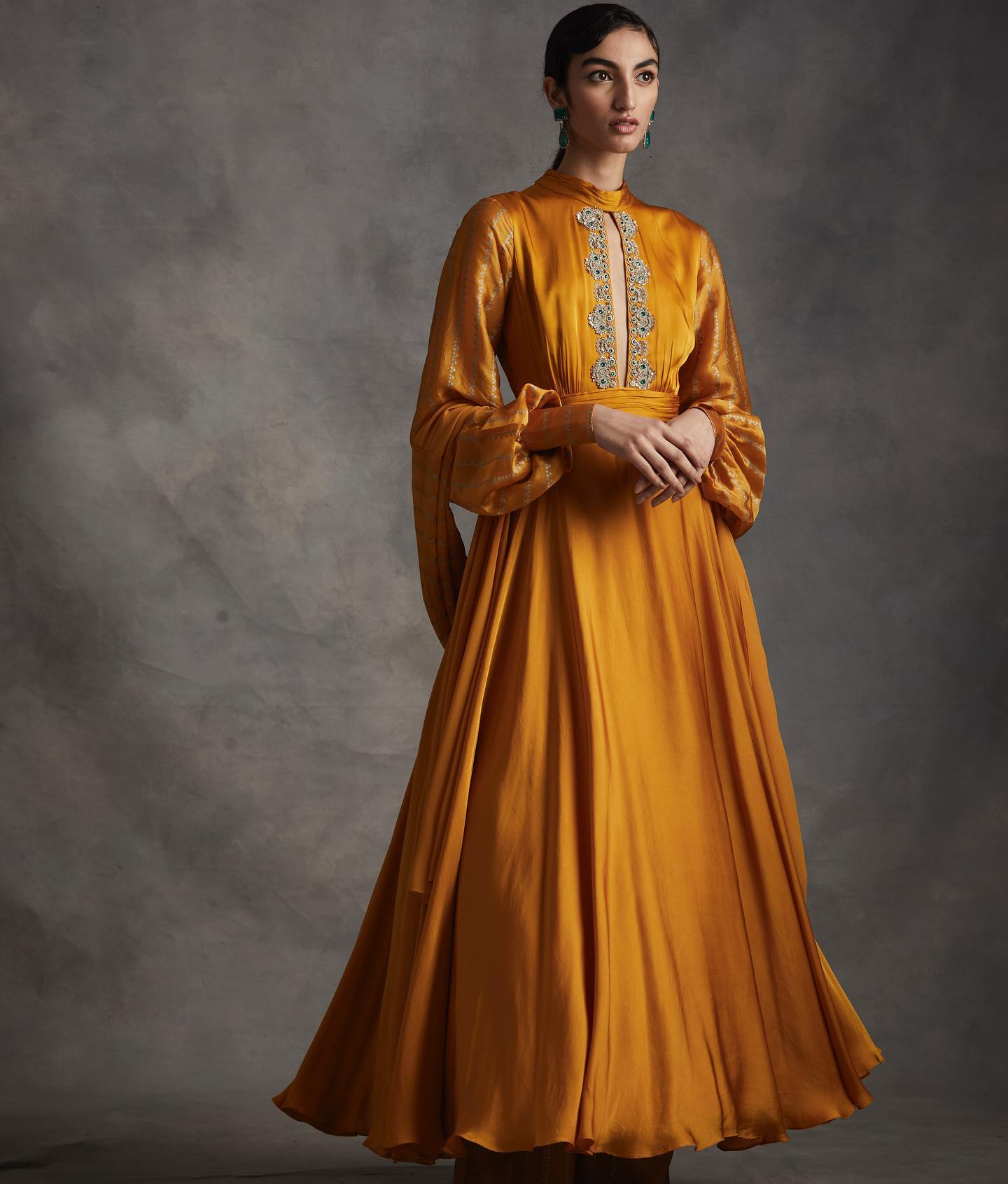 SUMMER ROMANCE . FESTIVE 2021 . PART 2  LOOK 6 - Haldi anarkali with nukta print exaggerated sleeves & embroidered yoke & nukta print palazzos & dupatta. . .  . To place orders or for assistance please Call/WhatsApp on +91 9821497535. . 2021-02-23