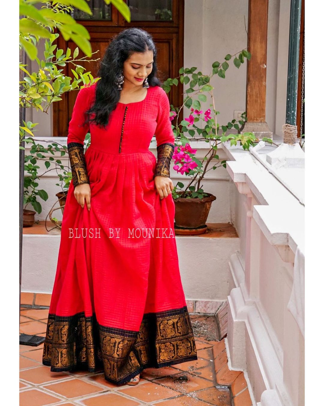 Loom Love. Stunning red color hand loom pattu long frock. 2021-02-23