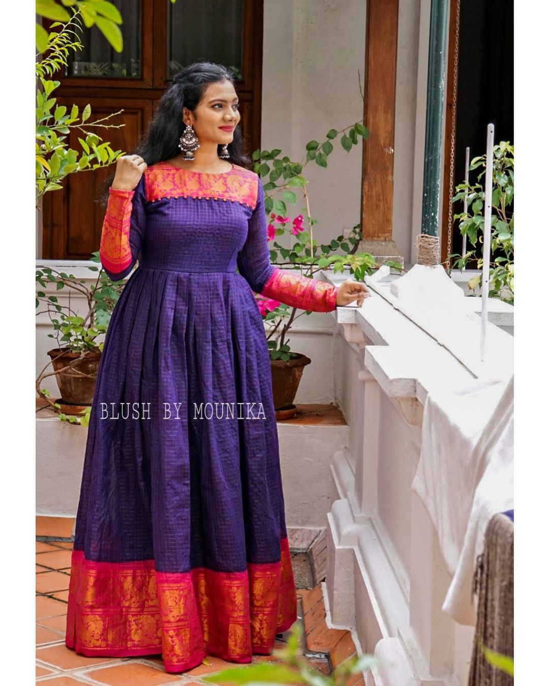 Loom Love. Stunning purple color hand loom pattu long frock. 2021-02-23