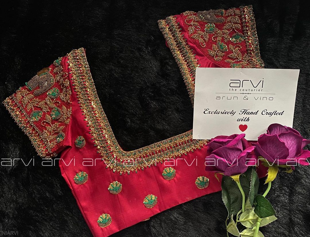 Gorgeous designer blouse with elephant design hand embroidery 3D bead aari work.   2021-02-23