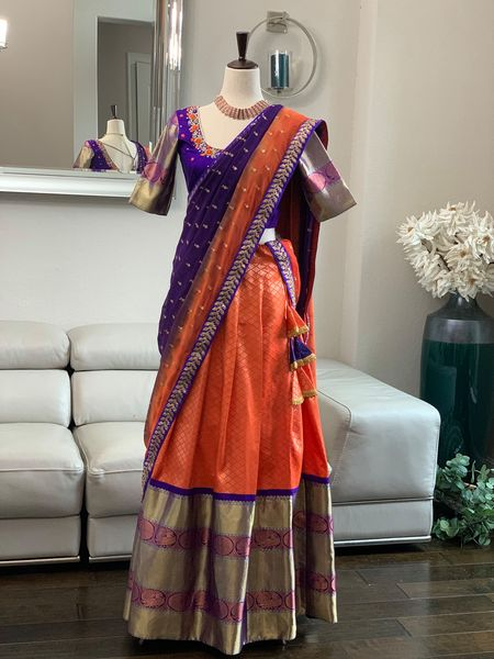 Look elegant in traditional color combo in Soft Kanchi  Pattu Langa Voni double shaded dupatta. Exclusively available at Sarayu l!!  Price 395$ 2021-02-24