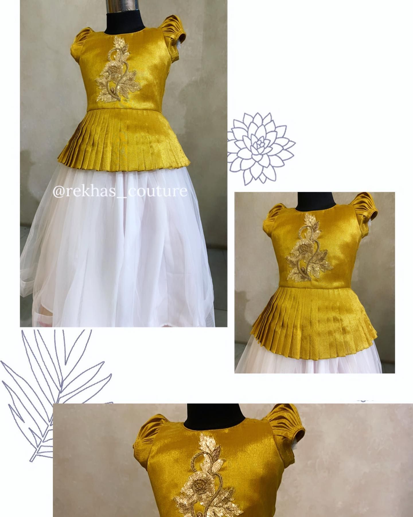 Beautiful kids pearl white skirt and gold shade peplum top with hand embroidery work.  2021-02-24