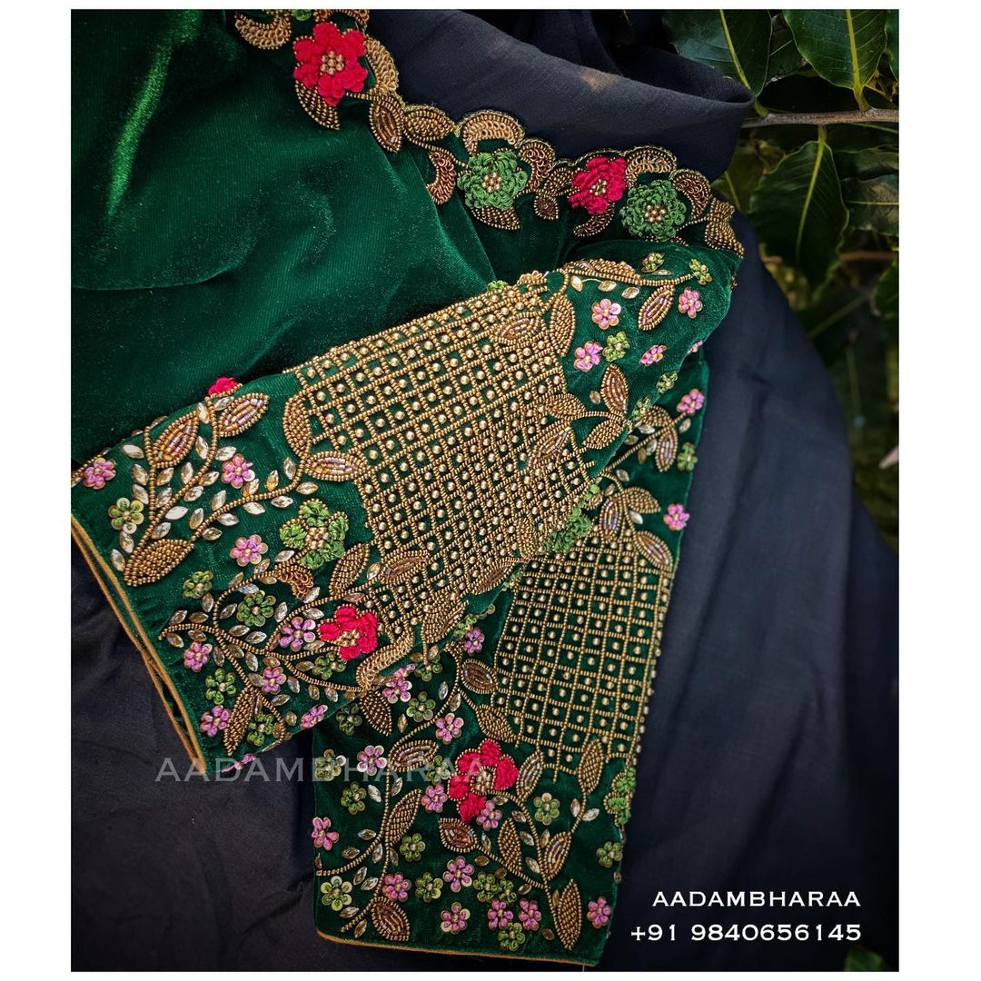 Gorgeous bottle green colour velvet cloth designer blouse with floral and creeper design hand embroidery bead and cut aari work.  2021-02-24