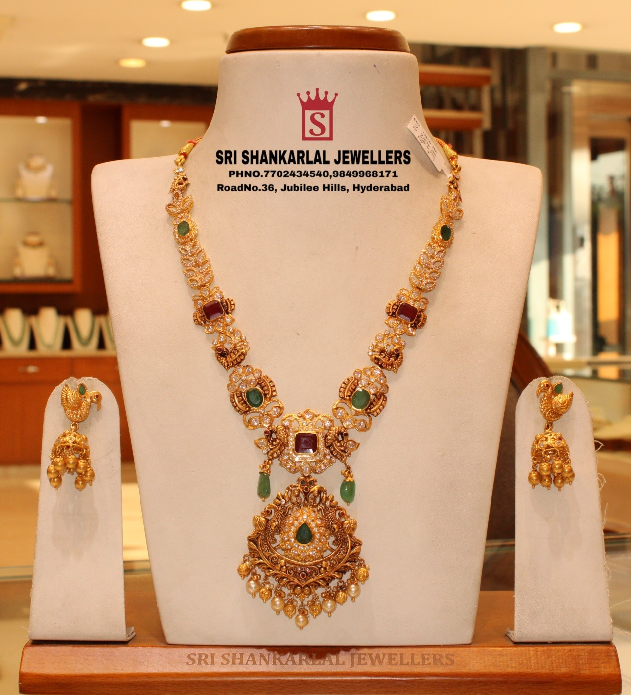 Latest Nakshi Czs Haram and Jumka jewellery Light weight in Heavy Looking and vast collection! Please Visit us on video call 7702434540  9849968171 9966118893 to see more collection. 2021-02-25