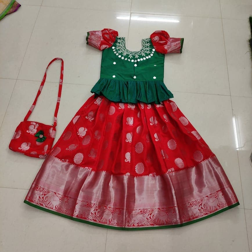 Kids Banarasi skirt and top 