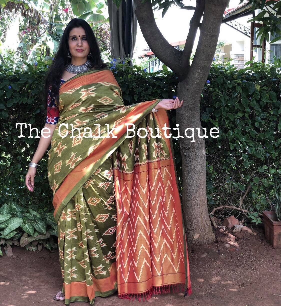 { Mehendi } Green Pure Handwoven Pochampally Single Ikat Cotton Saree. 2021-02-25