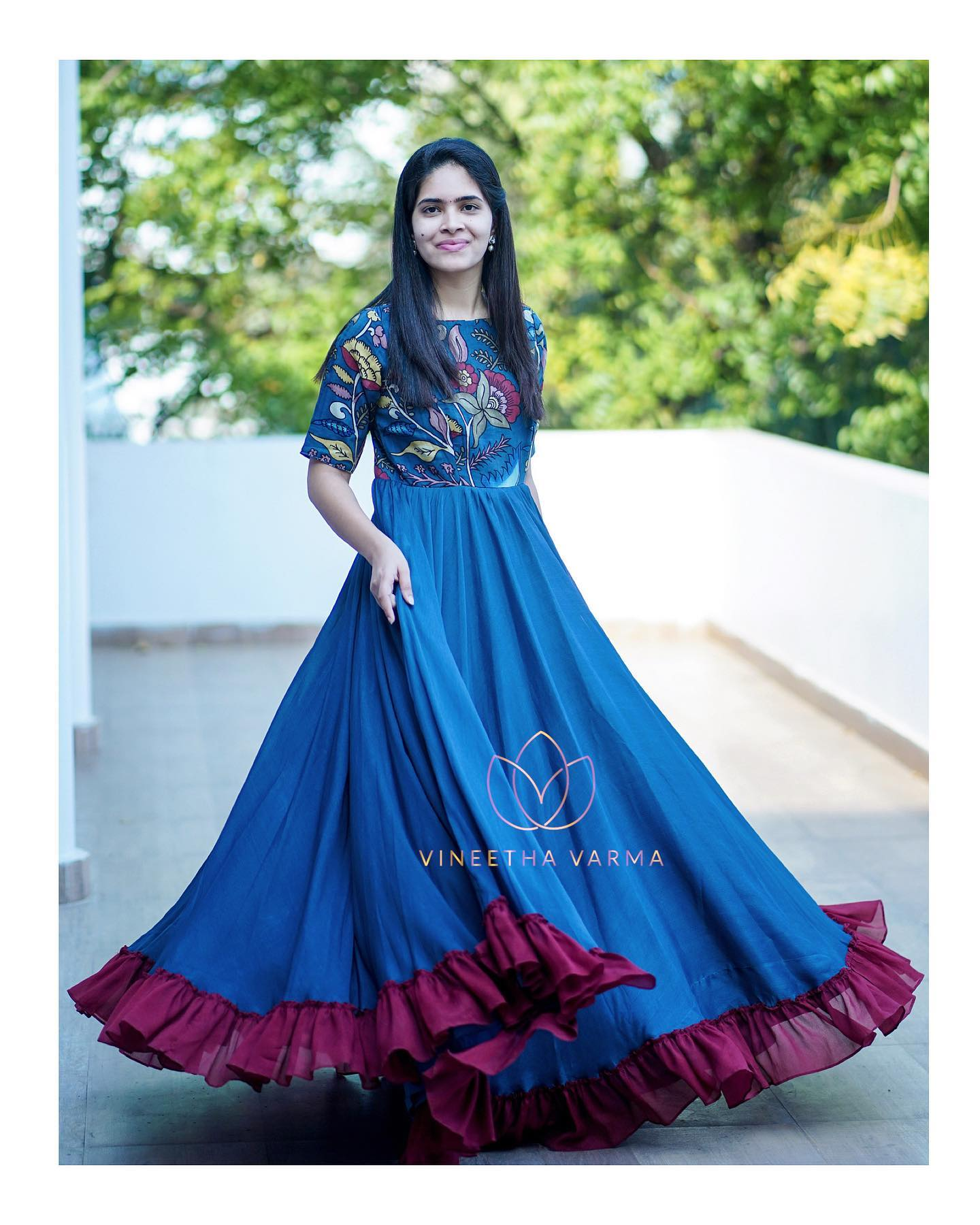 Hand painted Kalamkari maxi. Beautiful blue color hand painted floor length drees with frill boarder.  2021-02-26
