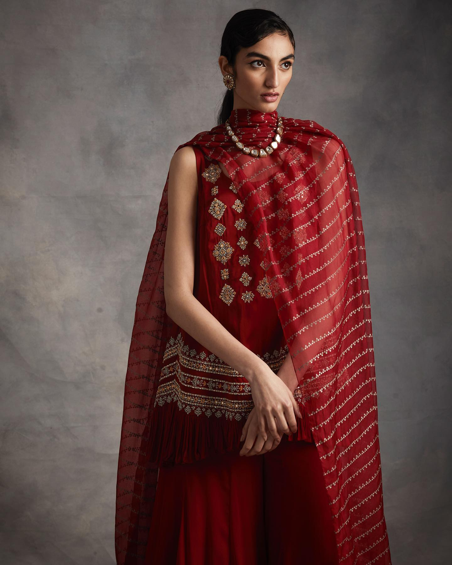 LOOK 9 - Red embroidered frill kurta with flared pants and nukta print organza dupatta. To place orders or for assistance please Call/WhatsApp on +91 9821497535. 2021-02-26