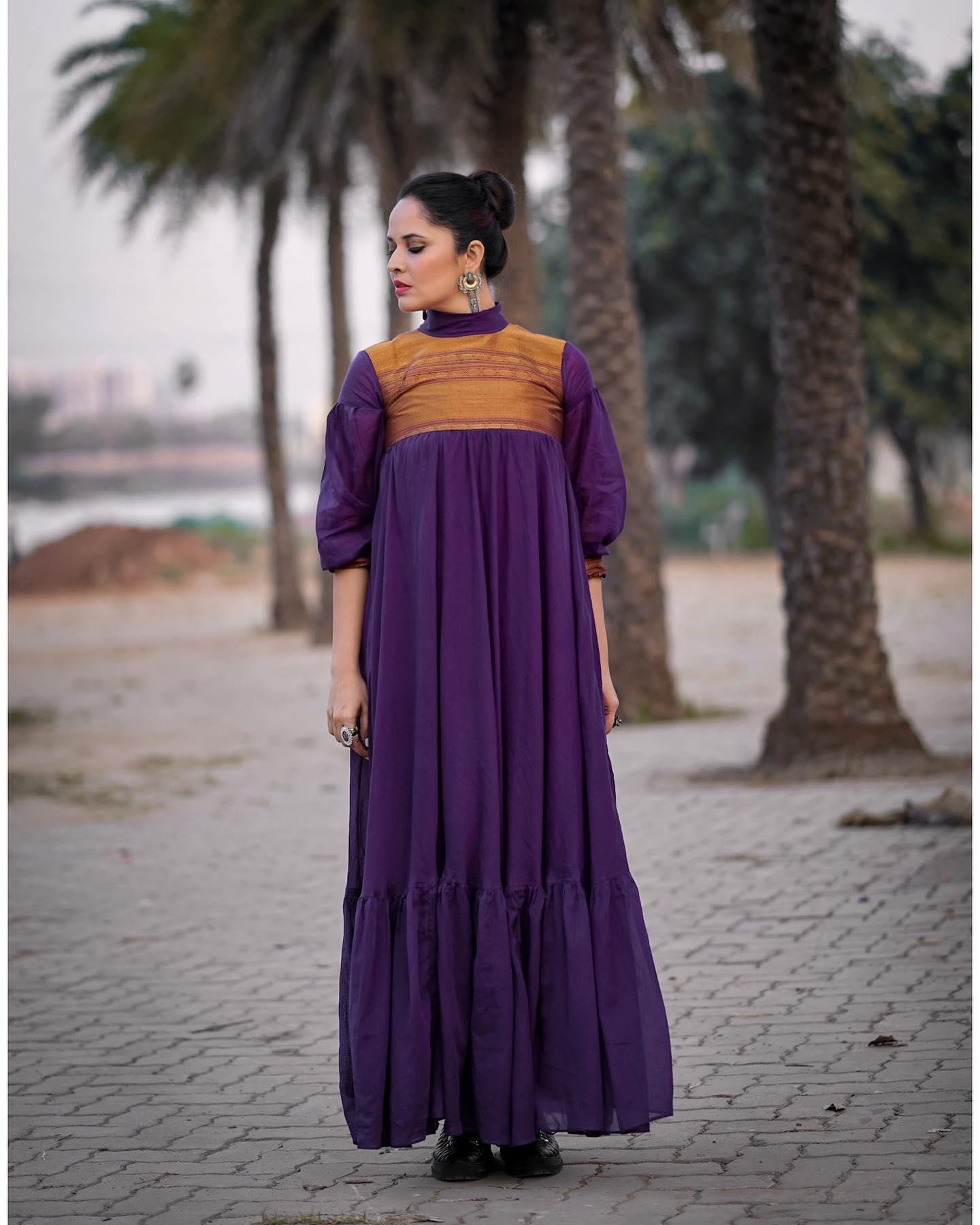 Don't worry Be Purple! Beautiful anchor Anasuya Bardwaj in purple dress    For Jabardast tonyt . 2021-02-26