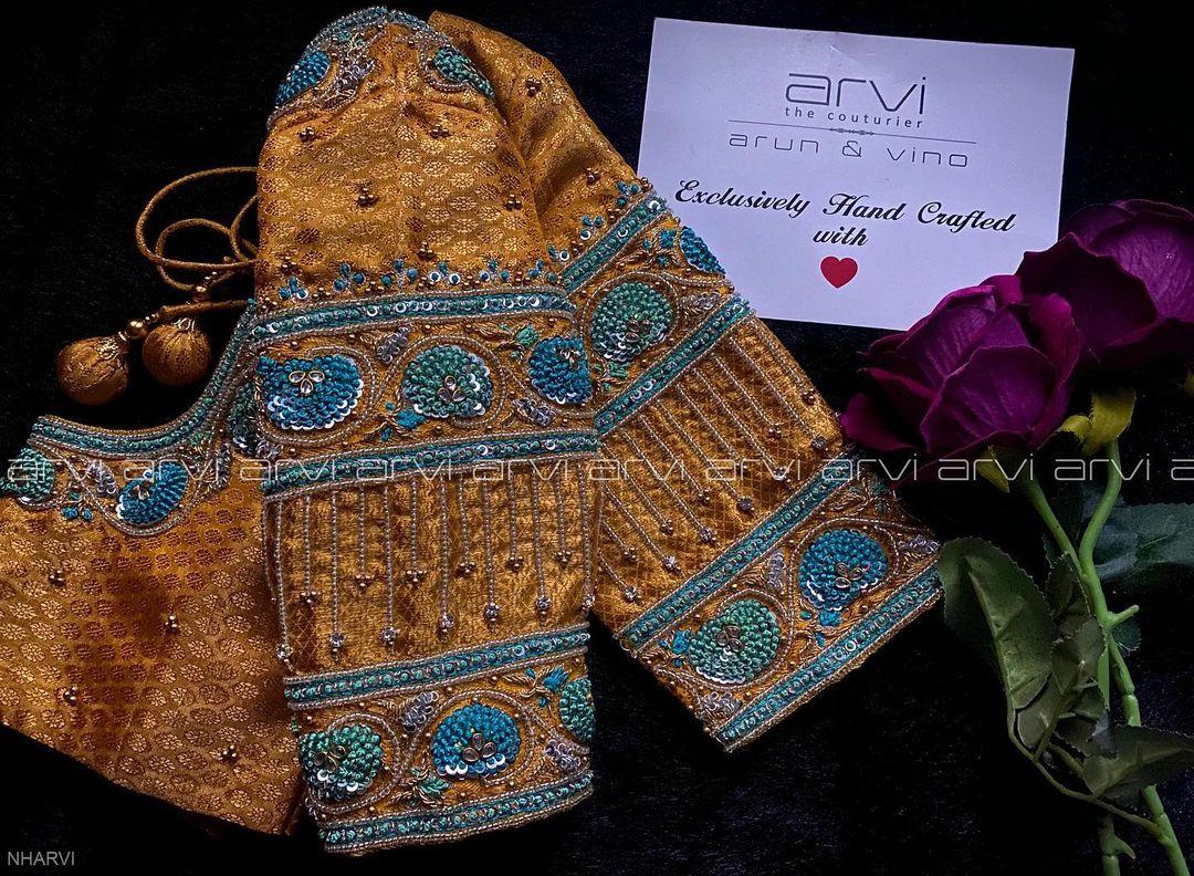 Stunning gold shade designer blouse with hand embroidery zardosi work. 2021-02-26