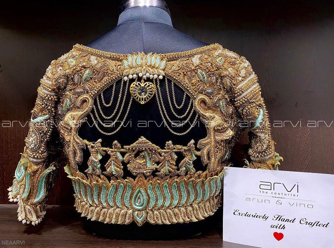 Beautiful doli or pallaki blouse with bead cut and zardosi work. 2021-02-26