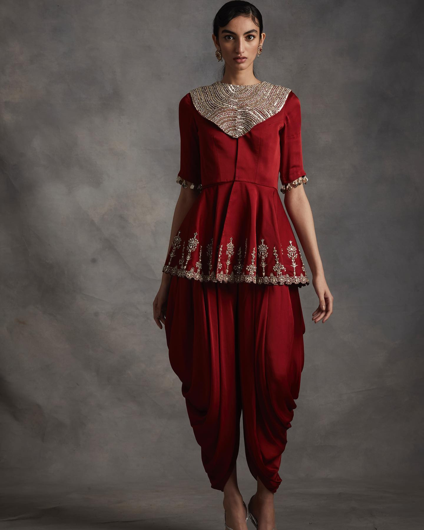 SUMMER ROMANCE . FESTIVE 2021 . PART 2 LOOK 10 - Red embroidered peplum jacket with pre-stitched draped dhoti pants.  . .  To place orders or for assistance please Call/WhatsApp on +91 9821497535.  2021-02-28