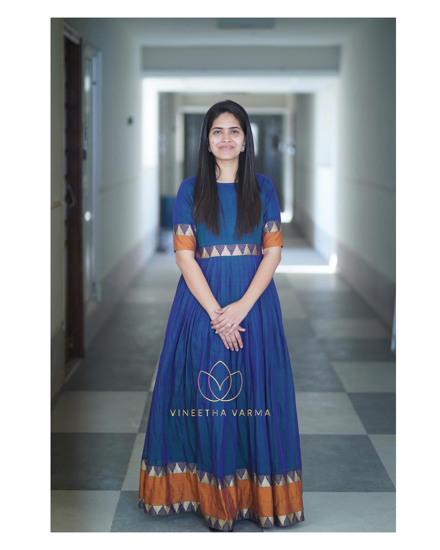 Handloom love. Gorgeous blue color floor length handloom dress. 2021-03-01