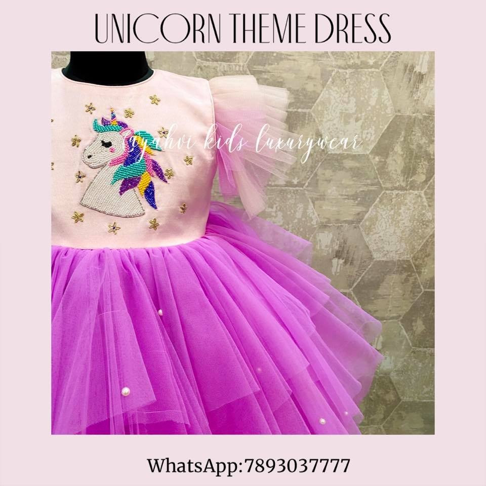Unicorn .. theme dress  : prettiness at peaks . They can customise these beautiful frocks as per your choice of colours and shades .  For orders :  whatsapp 7893037777 2021-03-01