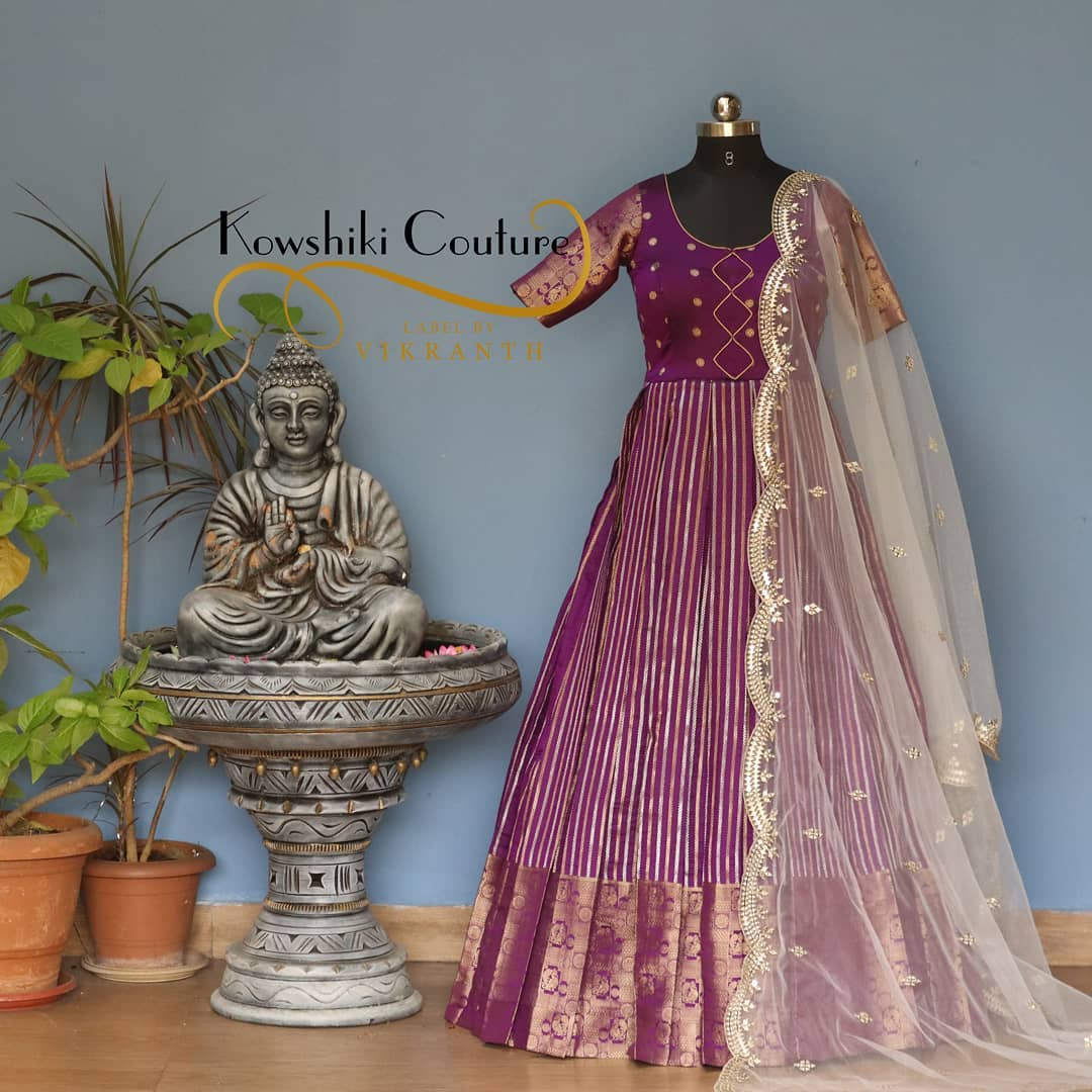 Purple pattu Long Gown with net dupatta from house of Kowshiki. 2021-03-01