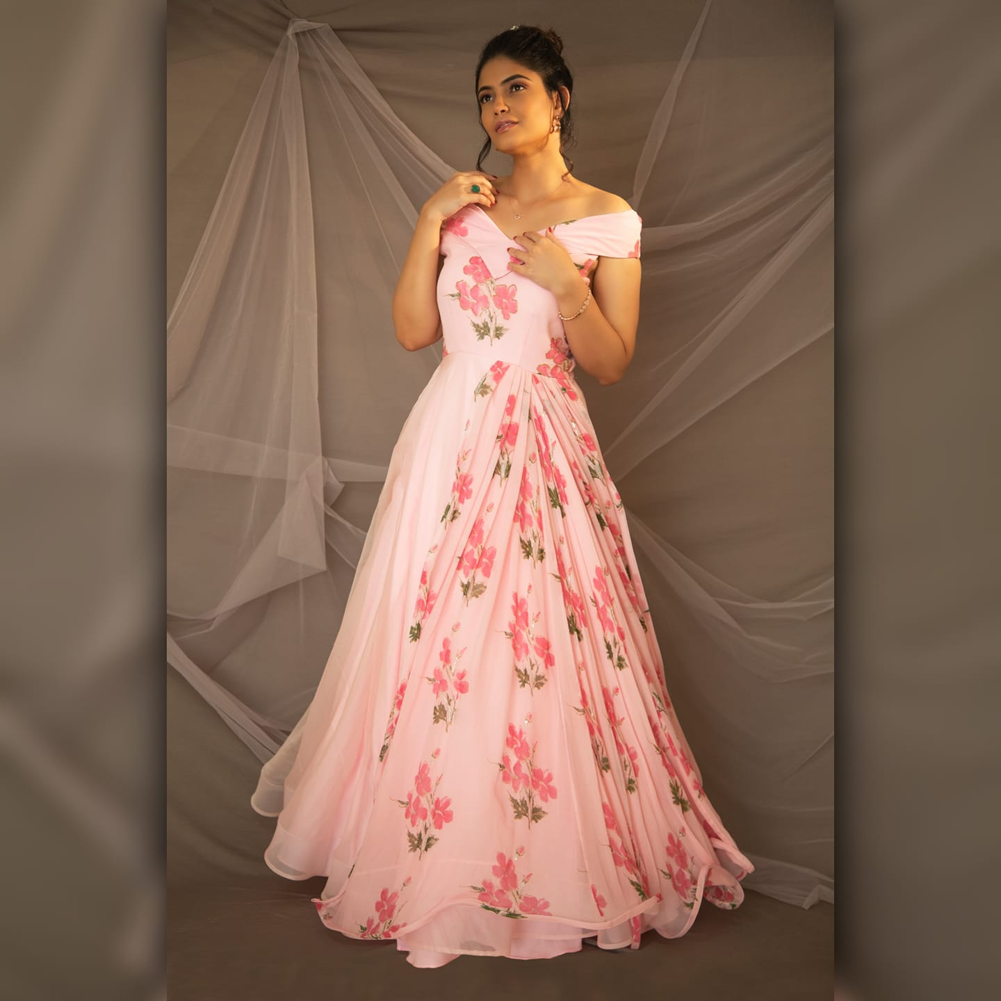 """""""Power up with pink! Pink off shoulder Floral gown. You don't need a crown when you have a gown; Be your own queen the Stylus way."""" 2021-03-02"""
