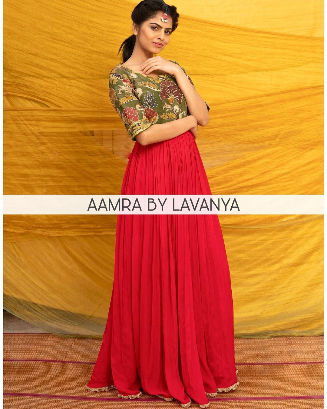 ~QALAM~ new collection. Hand painted kalamkari yolk in multicolor shades with all over hand embroidery teamed with red flare. For orders and queries call/whatsapp on +91-9177363970. 2021-03-02