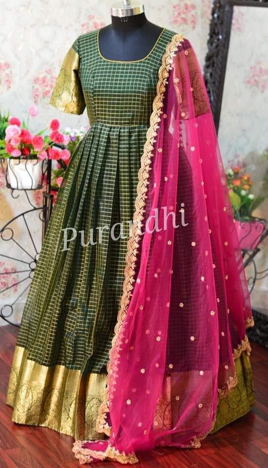 Bottle green Organza  Long Dress with net Dupatta. Sale Price : 4300/- Sizes can be customized. To order contact  on whatsapp : 9701673187 or email  at purandhistore@gmail.com. 2021-03-03