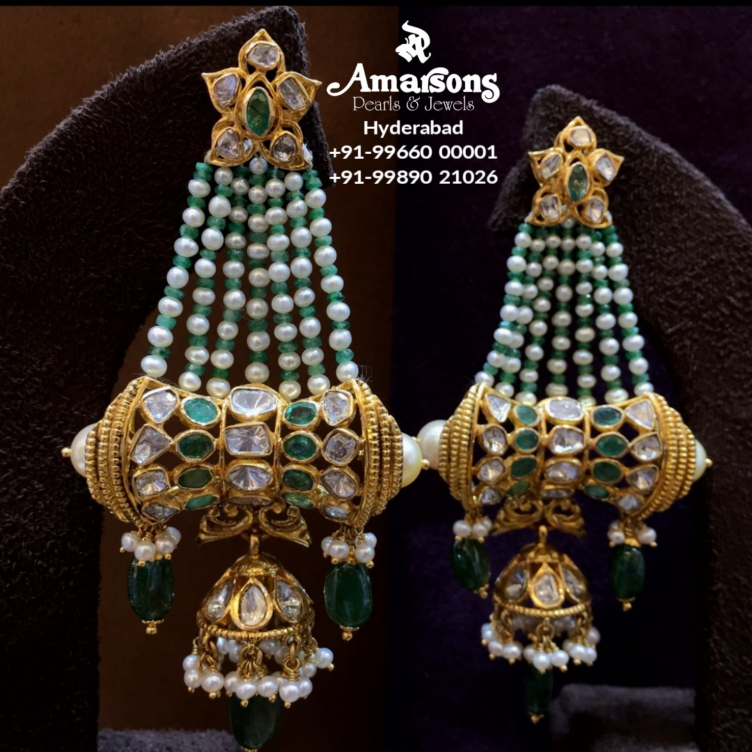 Polki Gold Hangings with Emerald and Pearls from Amarsons jewellery. 2021-03-03