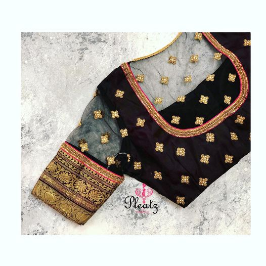 Black - such a classy colour! Stunning black color designer blouse with floral buti design hand embroidery bead aari work. Blouse with jari sleeves. 2021-03-04
