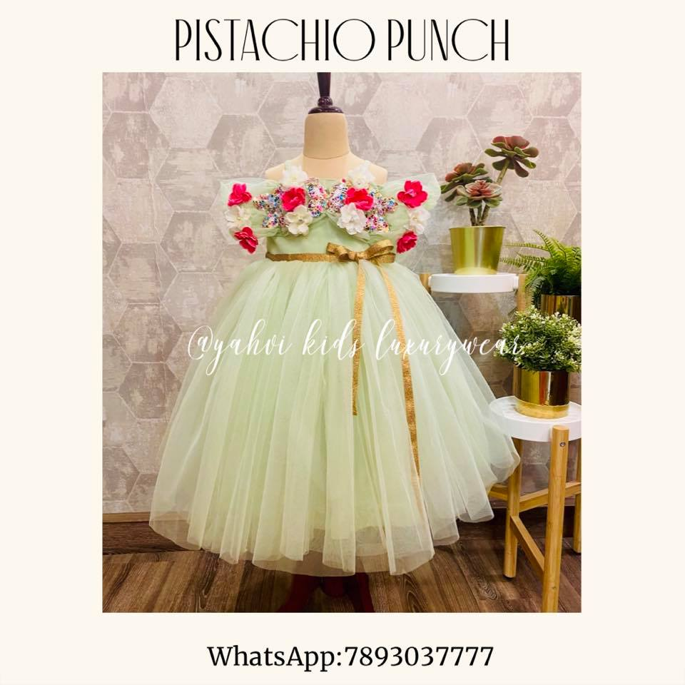 Fairy tales collection : PISTACHIO PUNCH yahvi designs . Gorgeous pista gree color kids birth day gown. For orders :DM or whatsapp7893037777 2021-03-04