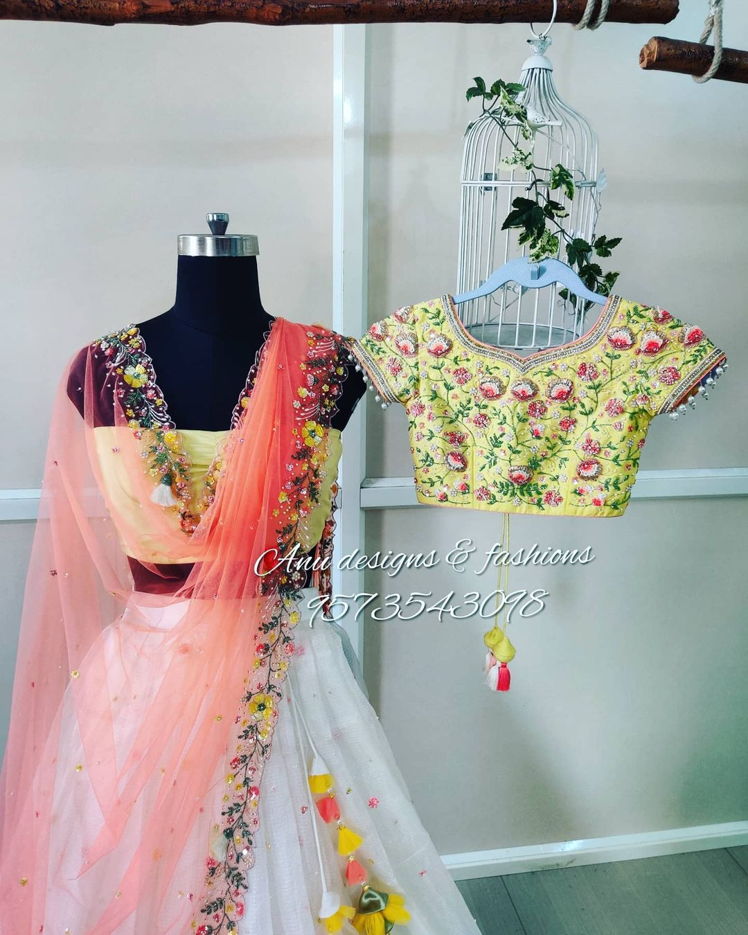 Stunning pearl white color skirt and lime yellow color crop top with net dupatta. Blouse and dupatta with 3D floral hand embroidery maggam work. Full set with dupatta cost is Rs.35 000/- includes fabric embroidery and stitching. 2021-03-04