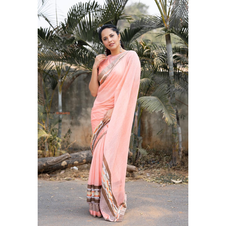 Beautiful anchor Anasuya Bardwaj inn peach designer saree for Jabardasth. 2021-03-05