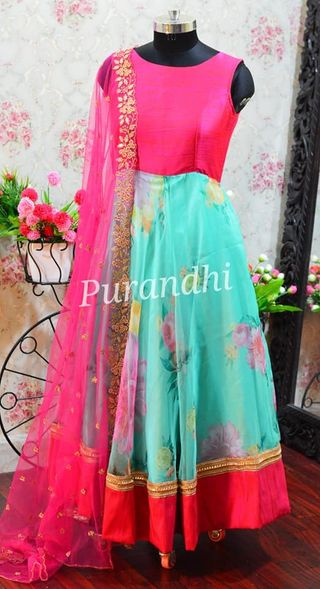 Floral Anarkali with hand embroidery cut work Dupatta. Sale Price : 4500/- Sizes can be customized. To order contact  on whatsapp : 9701673187 or email  at purandhistore@gmail.com. 2021-03-05