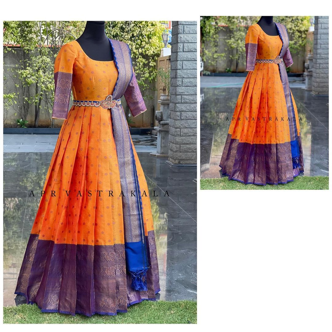 Simple yet trendy designs for small intimate ceremonies. Gorgeous mustard yellow and purple color combination pattu long frock.