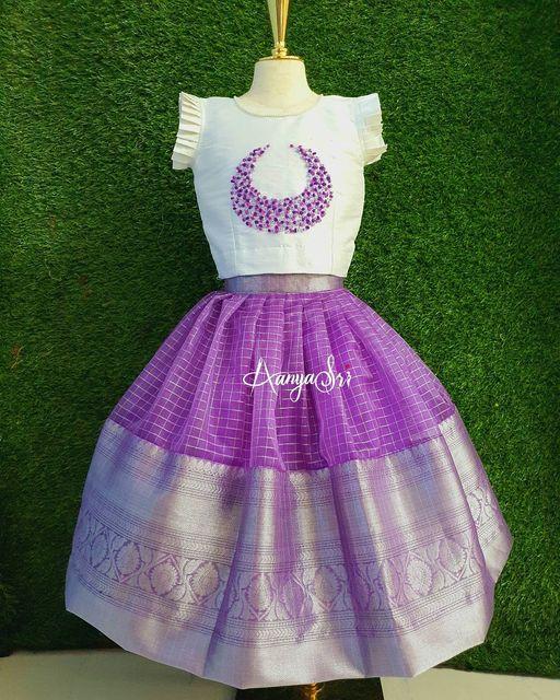 Lavender and White Mini. Stunning lavender silver pattu kids lehenga and white top. 2021-03-06