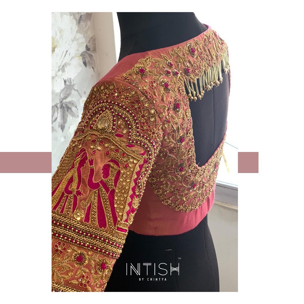 Elaborate detailing in sequin beads and zardosi. Stunning bridal blouse with floral and bride and groom design hand embroidery sequence bead and zardosi work.  2021-03-06