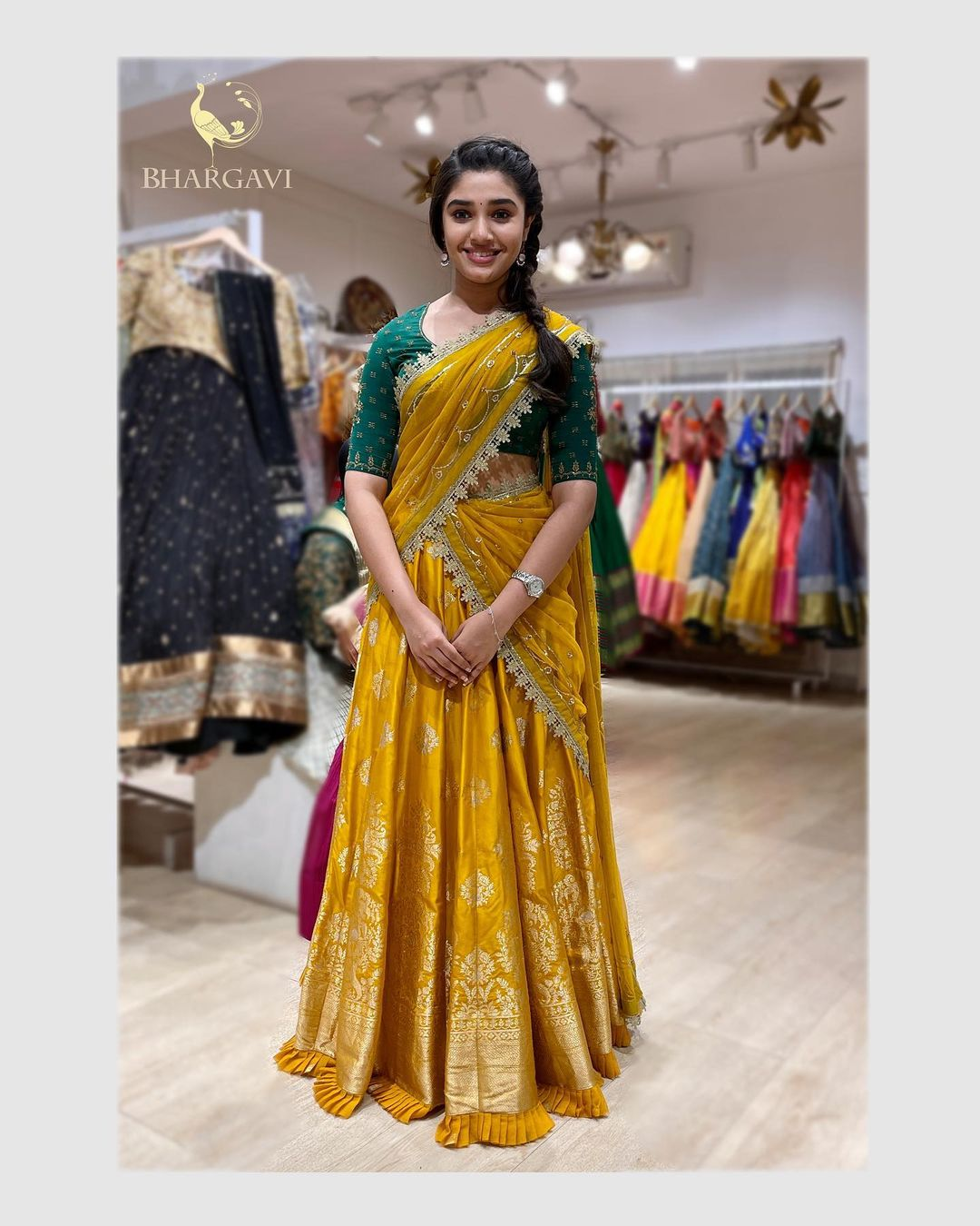 Pretty Krithi shetty for her pre events for most successful movie uppena Draped in Bhargavi kunam half saree from our latest collection! 2021-03-06