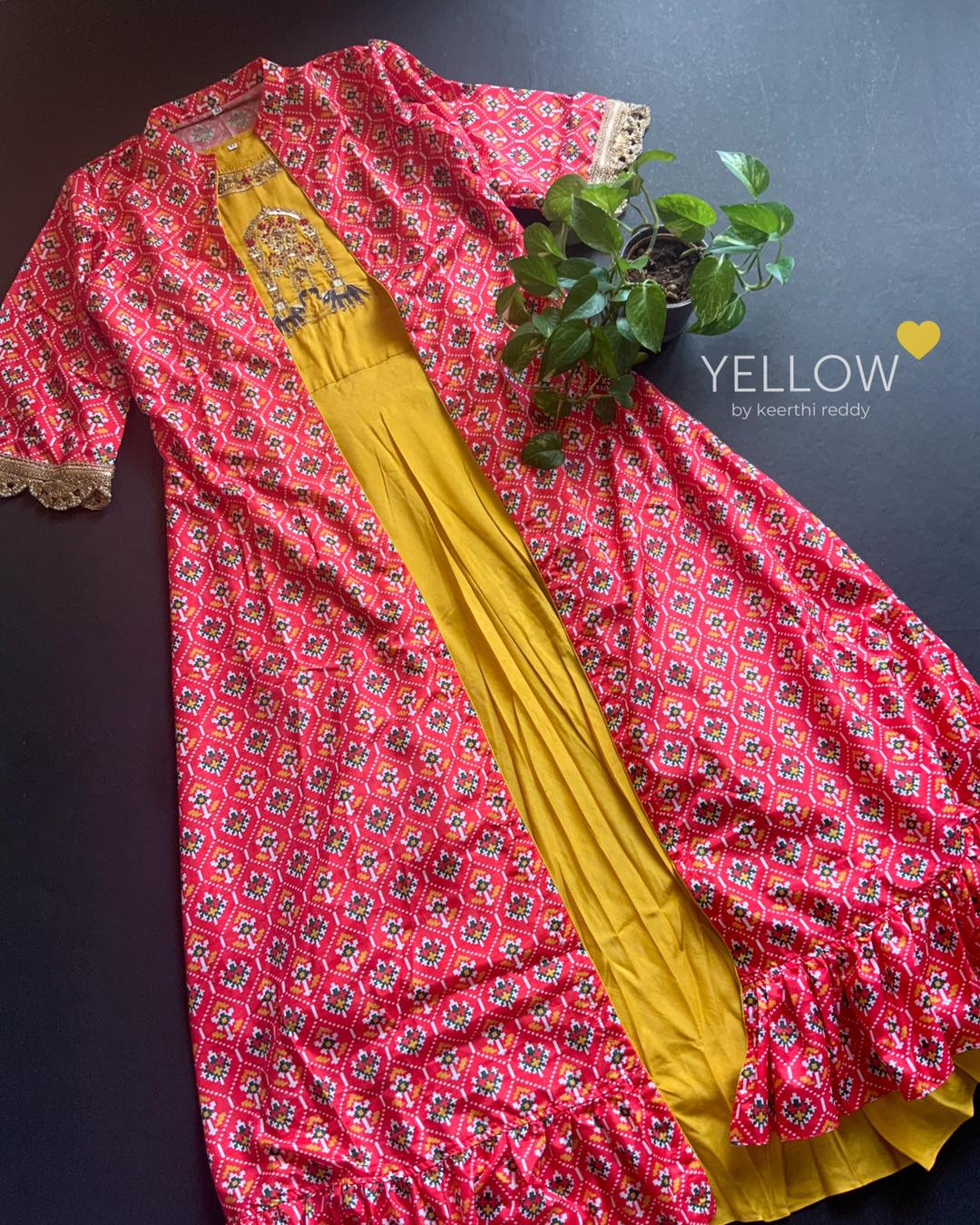 Long Falling rawsilk gown with embroidered yoke paired up with detachable Patola printed overcoat .  Size - L XL XXL Kindly WhatsApp  @ 7995038888 for placing orders . 2021-03-07