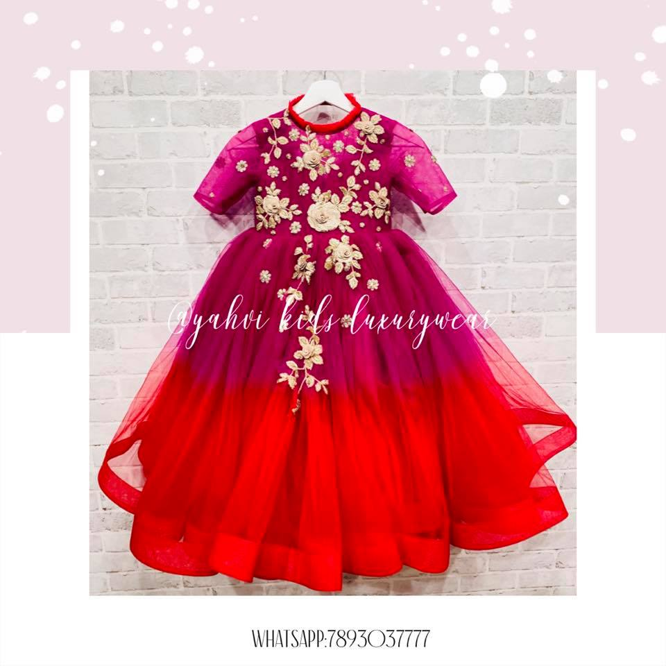 Enchanting frock from @yahvidesigns in shades of wine pink and red to doll up  your little one .  For orders : DM or whatsapp 7893037777( messages only  no calls plz )  2021-03-09