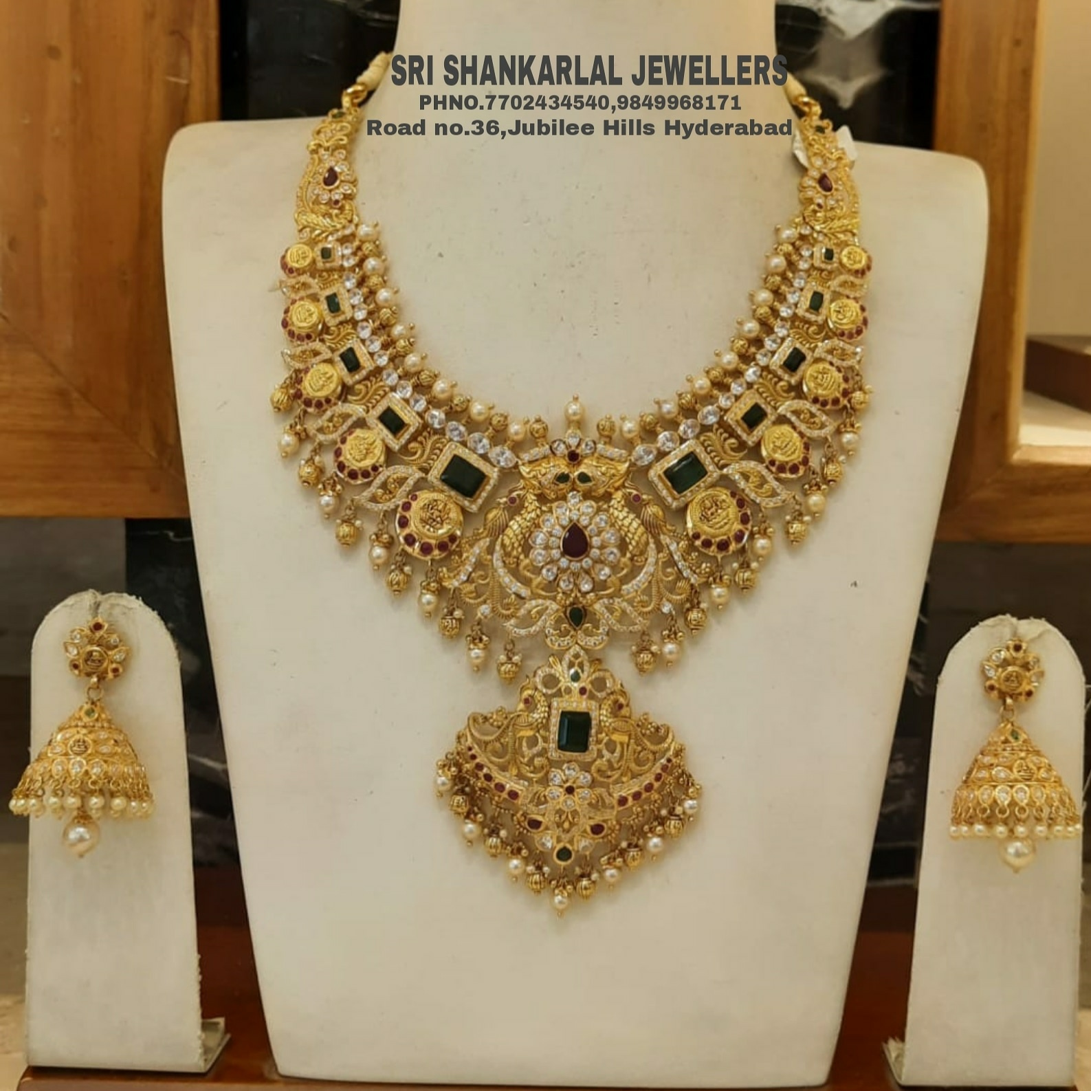Latest Bridal Necklace in Nakshi CZ Light weight in Heavy looking and vast collection! Please visit us on video call 7702434540 9849968171 to see more collection 2021-03-10