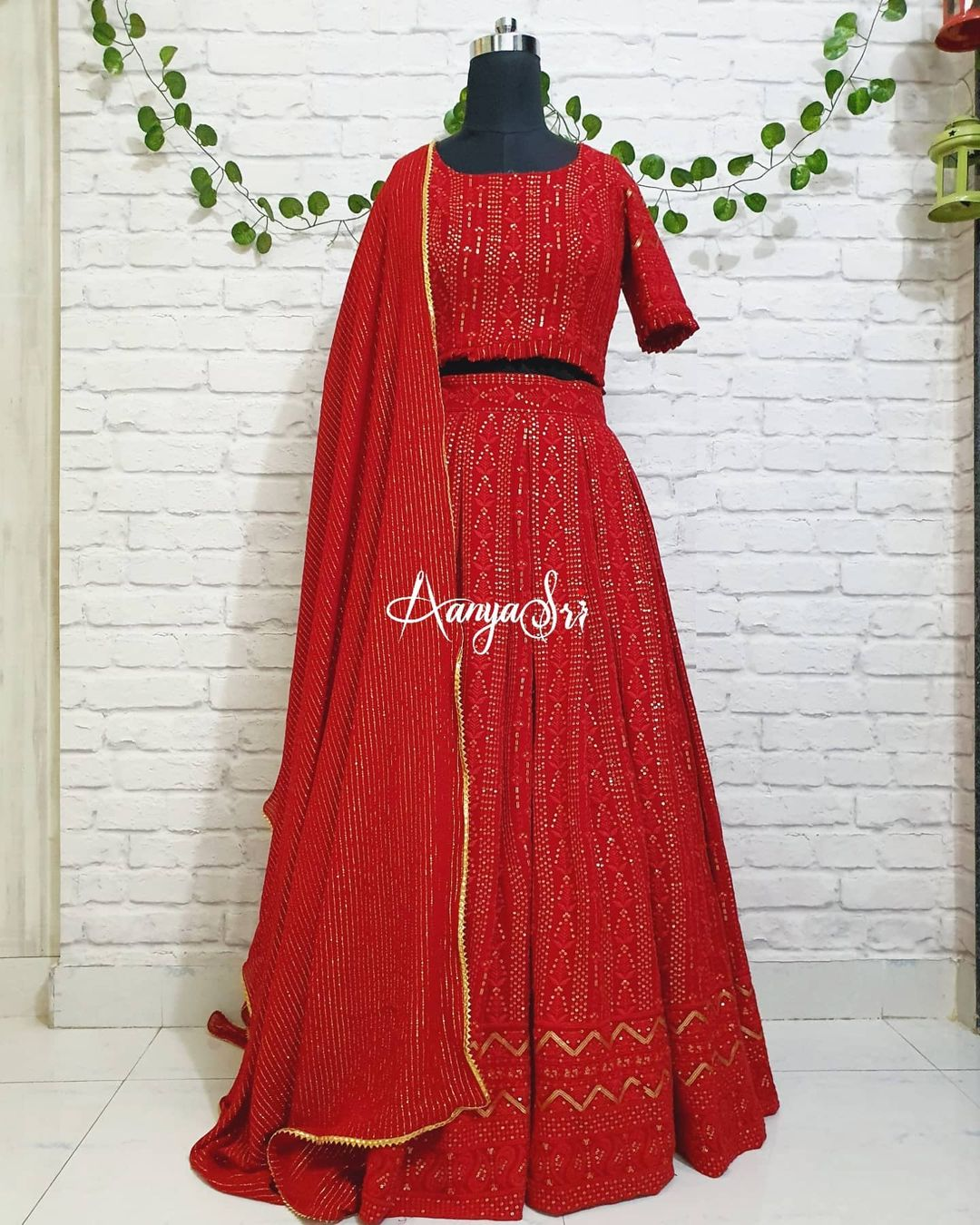 When in doubt wear red . Stunning Red Chickankari lehenga and blouse with dupatta. 2021-03-10