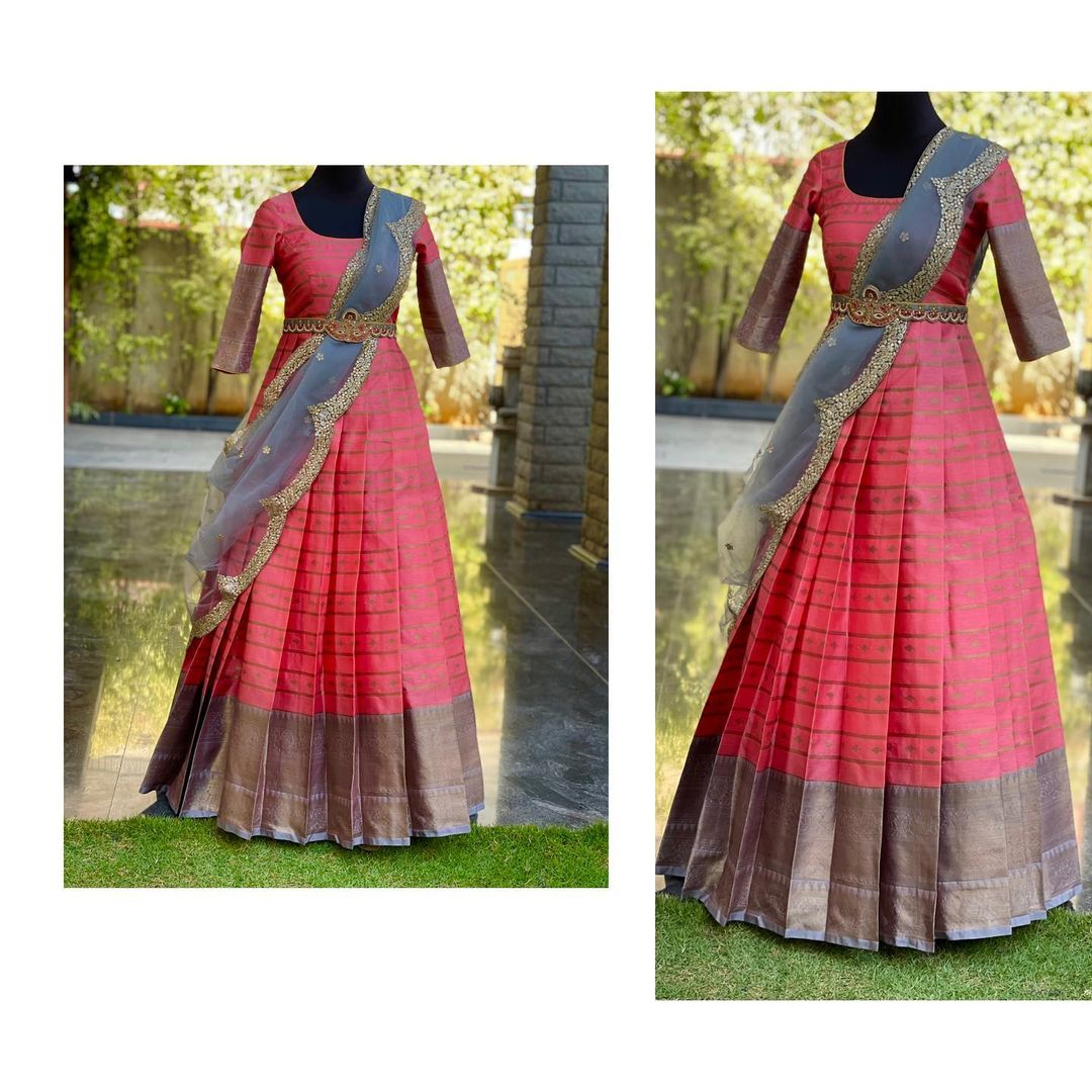 Beautiful ethnic gown with wasit belt and net dupatta.  Ethnic gown collection for all traditional functions. Pattu long frock. 2021-03-11