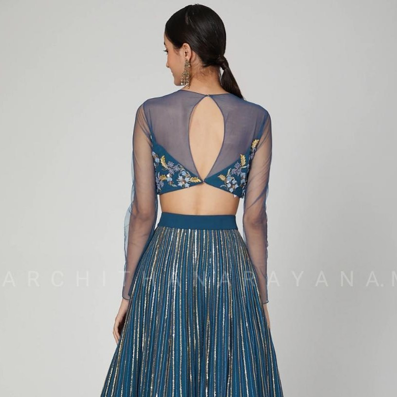 ~FRESCO~ A lovely bridal ensemble for all the brides to be a gorgeous indigo blue ensemble adorned with self thread and gold accents and a chiffon dupatta adding to the gorgeously detailed Lehanga! 2021-03-12