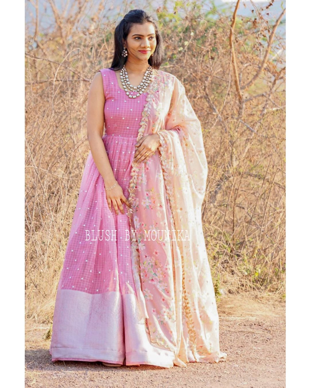 Beautiful blush pink color silver pattu long frock with floral net duaptta. Dupatta with cut work. 2021-03-15