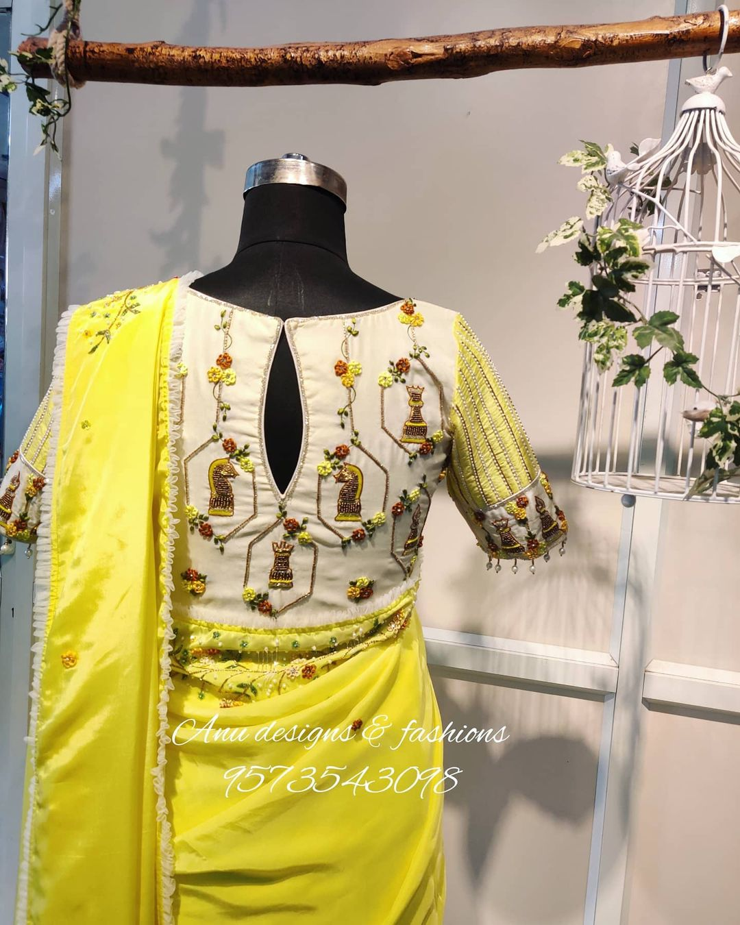 Gorgeous lime yellow color designer saree and off white color blouse with floral 3D maggam work. 2021-03-17