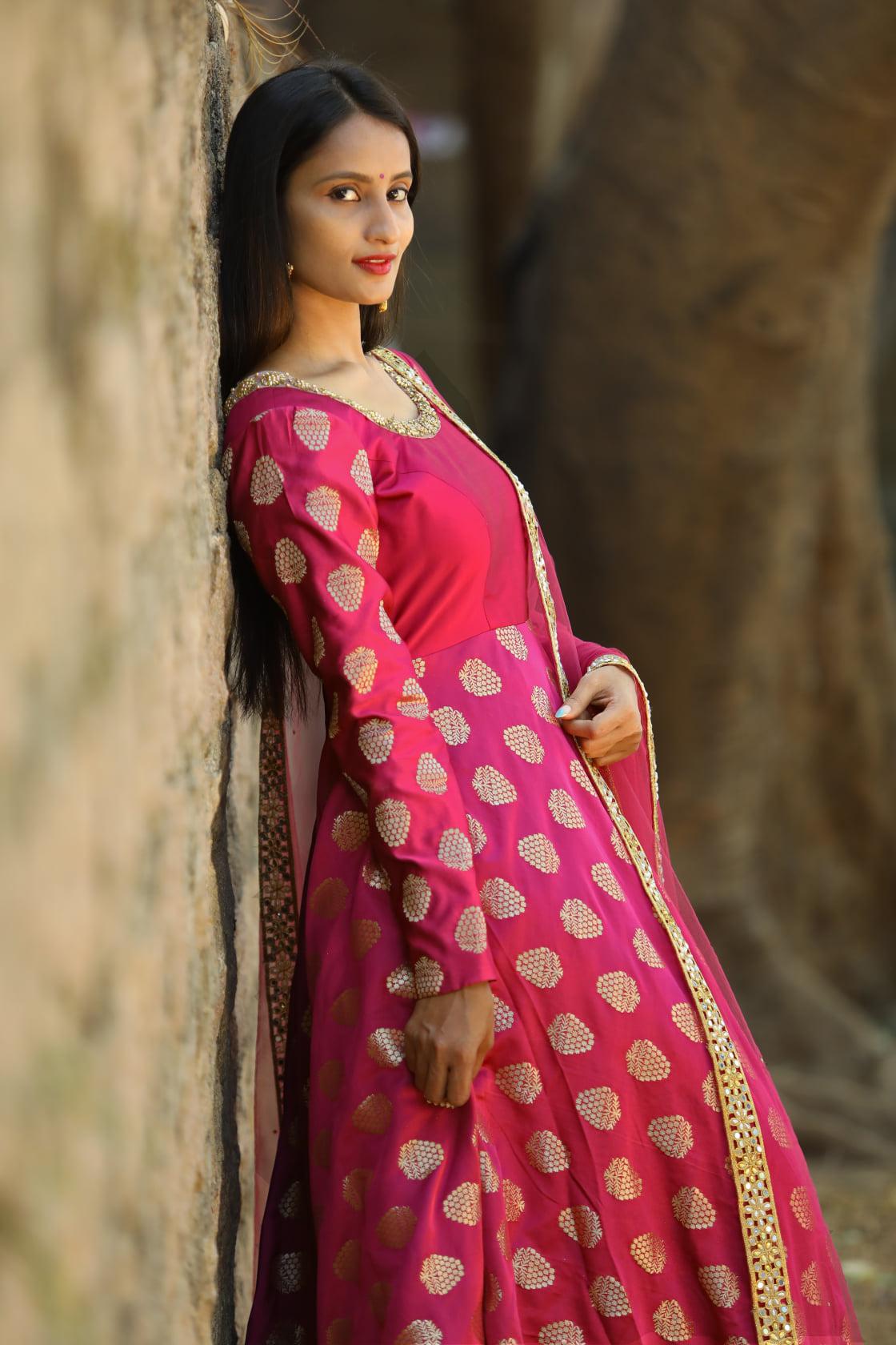 Stunning pink color designer floor length anarkali dress with net dupatta and full sleeves. 2021-03-18
