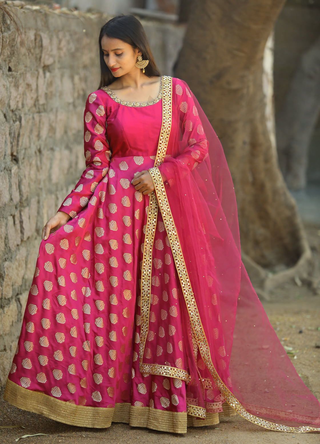 Stunning pink color designer floor length anarkali dress with net dupatta and full sleeves. 2021-03-18