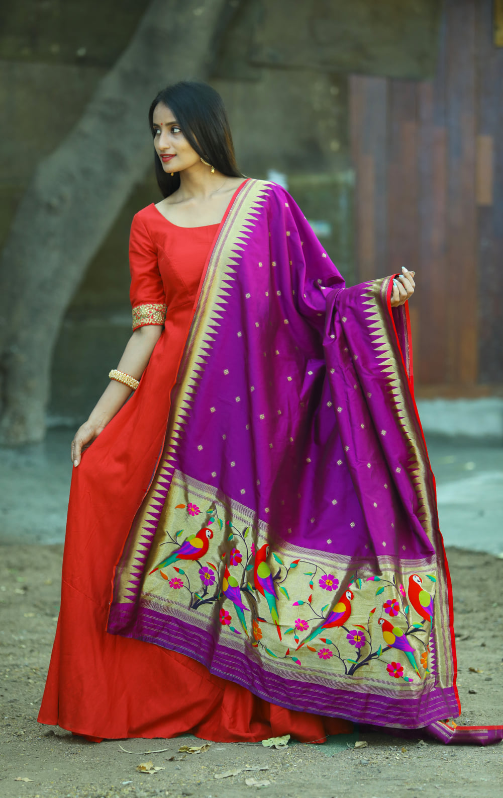 Gorgeous red color floor length anarkali dress with purple paithani pattu dupatta. 2021-03-18