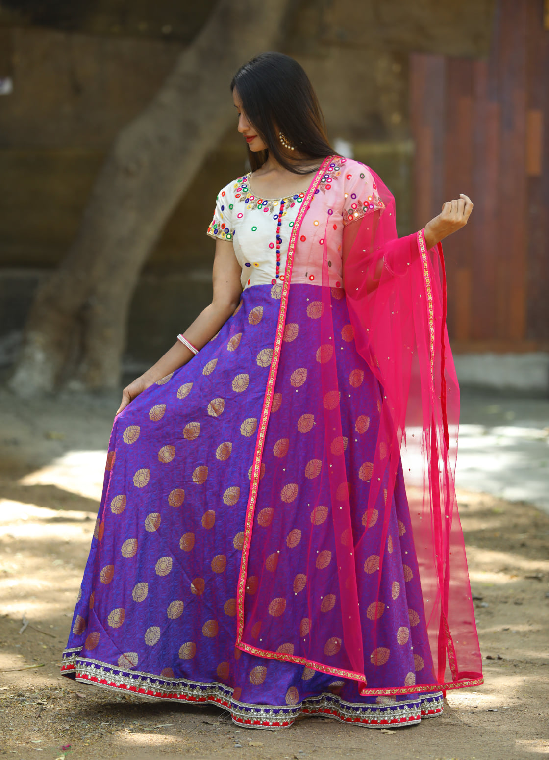 Gorgeous blue and off white color combination floor length dress with pink net dupatta. Floor length anarkali dress with mirror work. 2021-03-18