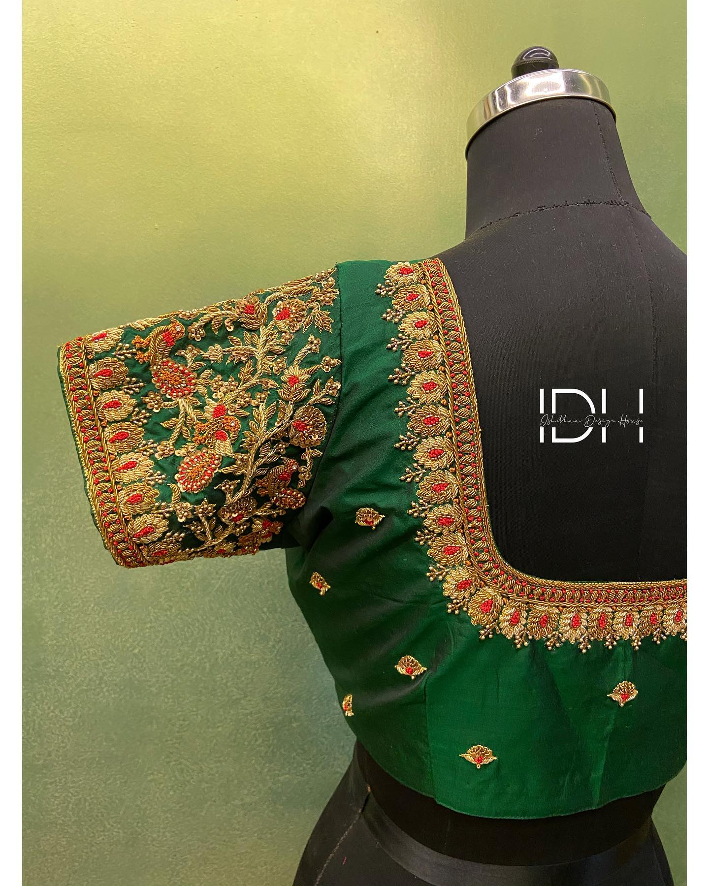Gorgeous green color designer blouse with floret lata design hand embroidery gold thread maggam work.   Ping  on 9884179863 to book an appointment. 2021-03-18